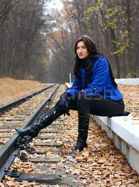 Fiatal nő ősz erdő levél levelek fiatal Stock fotó © DedMorozz
