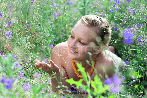 цветы Солнечный области девушки улыбка Сток-фото © DedMorozz