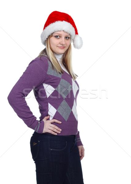 Hat портрет женщины белый Сток-фото © DedMorozz