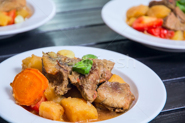 ragout made from meat and vegetables Stock photo © DedMorozz