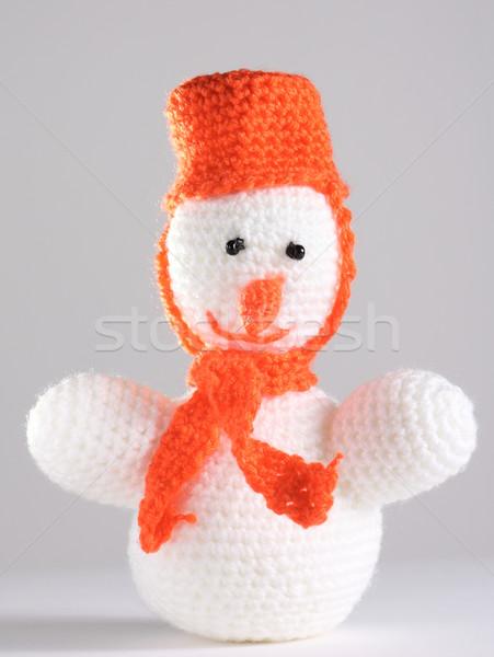 White snowman at the grey background Stock photo © DedMorozz