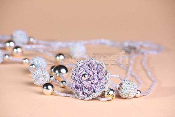 фиолетовый бисер розовый серебро искусства ювелирные Сток-фото © DedMorozz
