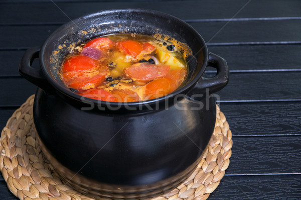 суп черный кастрюля деревянный стол кухне зеленый Сток-фото © DedMorozz