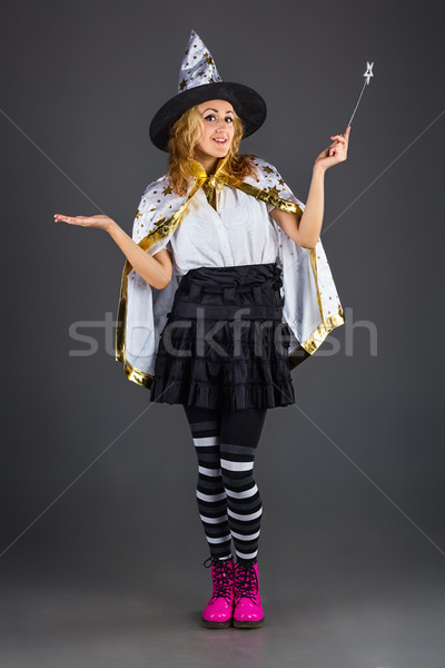 Fairy with magic wand at grey background Stock photo © DedMorozz