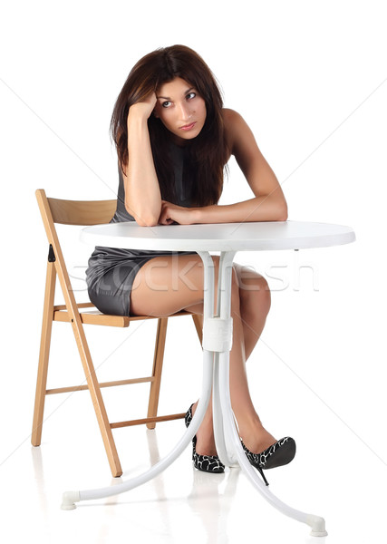 девушки сидят Председатель таблице лице моде Сток-фото © DedMorozz