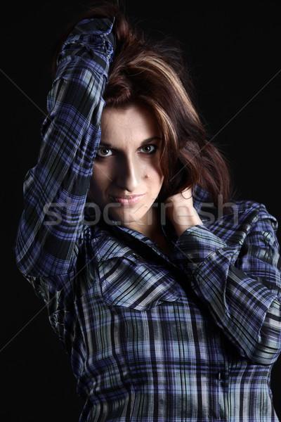 лице портрет девушки красивой женщину моде Сток-фото © DedMorozz