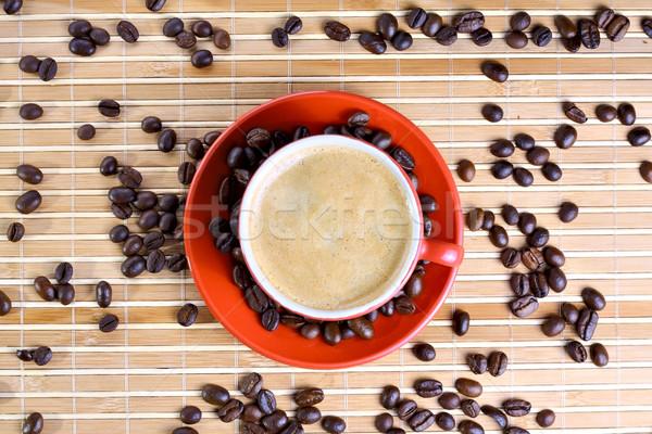 Кубок кофе бобов текстуры Сток-фото © DedMorozz