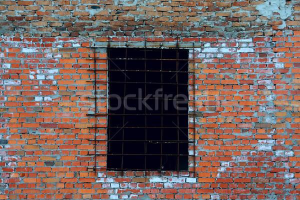Stok fotoğraf: Eski · duvar · tuğla · pencere · soyut · turuncu