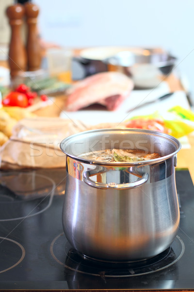 кастрюля суп кухне домой фон металл Сток-фото © DedMorozz