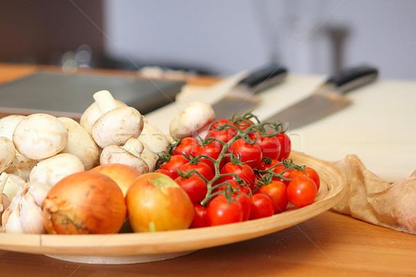 овощей пластина кухне красный приготовления гриб Сток-фото © DedMorozz