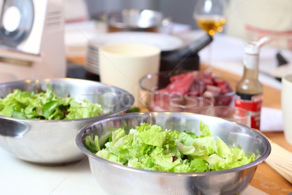 зеленый Салат листьев кухне ресторан мяса Сток-фото © DedMorozz