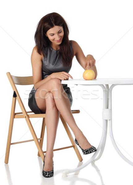 девушки яблоко сидят Председатель лице моде Сток-фото © DedMorozz