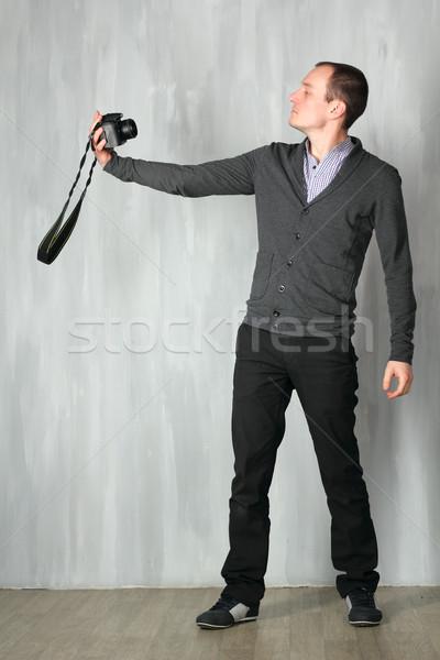 Man takes a self-portrait Stock photo © DedMorozz