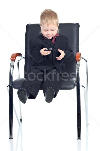 мало бизнесмен телефон Председатель улыбка мальчика Сток-фото © DedMorozz