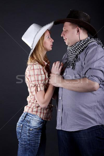 пару молодые изолированный белый лице любви Сток-фото © DedMorozz
