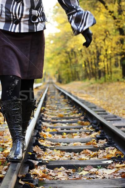 женщины ходьбе осень лес человек депрессия Сток-фото © DedMorozz