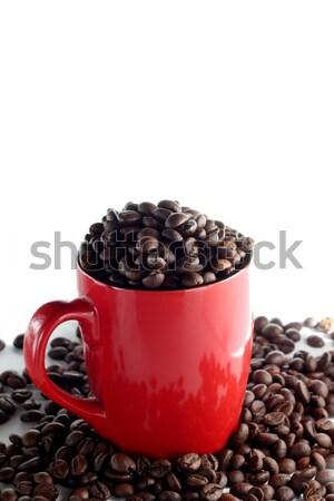 Кубок кофе красный полный коричневый Сток-фото © DedMorozz