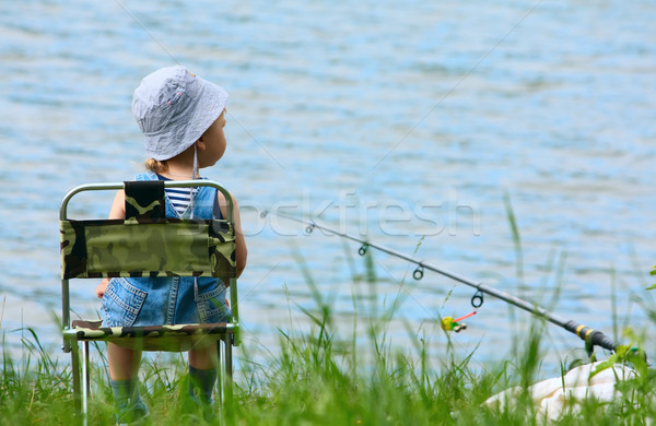 Little boy with fishing rod Stock photo © DedMorozz