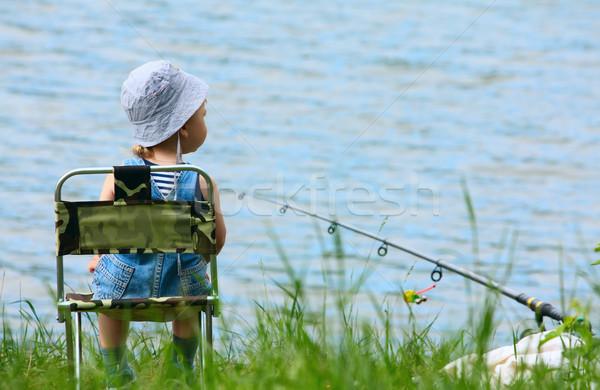 Küçük erkek olta çubuk oturma göl Stok fotoğraf © DedMorozz