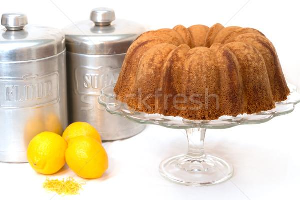 Citrom font torta izolált citromok liszt Stock fotó © dehooks