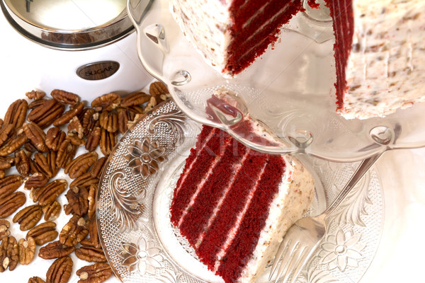Red Velvet Cake and Pecans Stock photo © dehooks