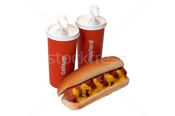 Hot dog ketchup musztarda przyprawa butelek odizolowany Zdjęcia stock © dehooks