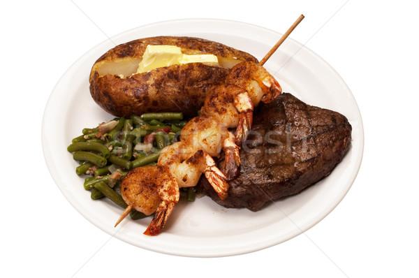 стейк картофеля зеленая фасоль креветок филей Сток-фото © dehooks