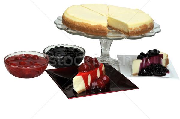 Strawberry and Blueberry Cheesecake Isolated Stock photo © dehooks