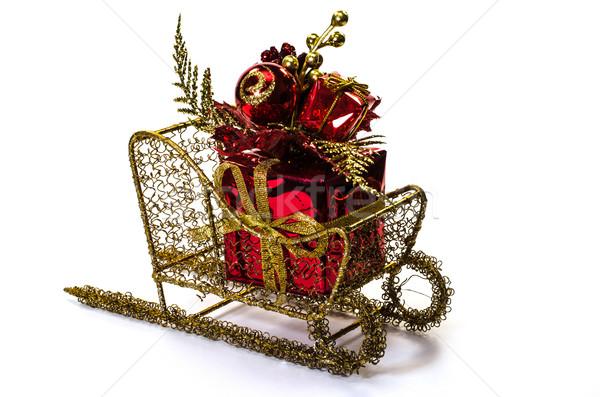Noel hediye yalıtılmış beyaz arka plan Stok fotoğraf © dehooks