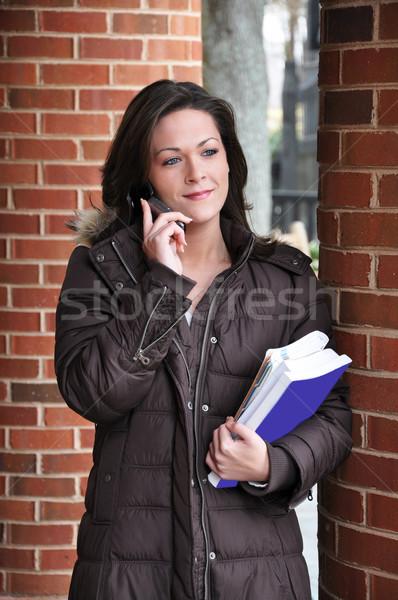 Clase femenino estudiante libros hablar Foto stock © dehooks