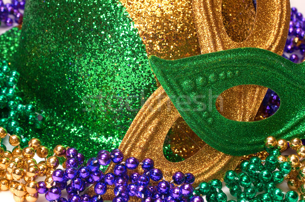 Mardi Gras Masks, Hat , and Beads Stock photo © dehooks