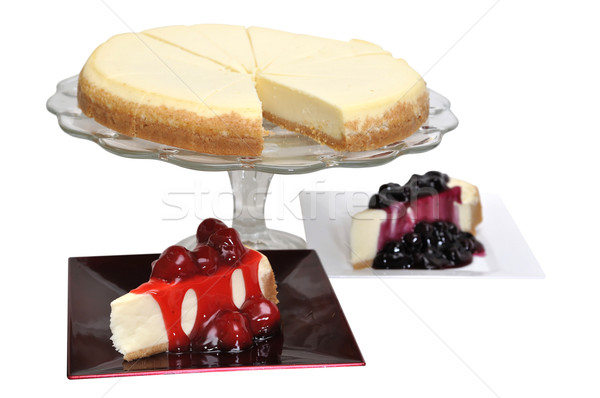 Morango bolo de queijo isolado branco Foto stock © dehooks