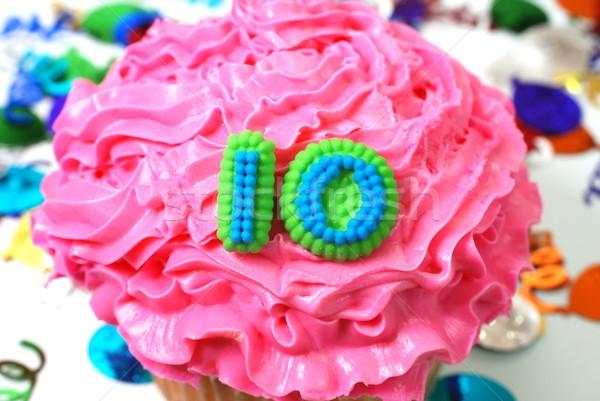 Celebration Cupcake - Number 10 Stock photo © dehooks