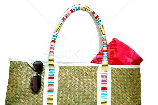 Playa toalla de playa gafas de sol aislado Foto stock © dehooks