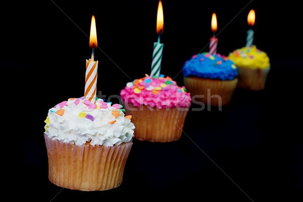 Viering kaarsen vier geïsoleerd zwarte Stockfoto © dehooks