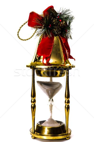 Noel zaman çan kum saati yalıtılmış beyaz Stok fotoğraf © dehooks