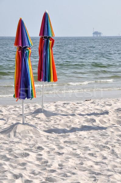 заброшенный пляж буровая закрыто Сток-фото © dehooks