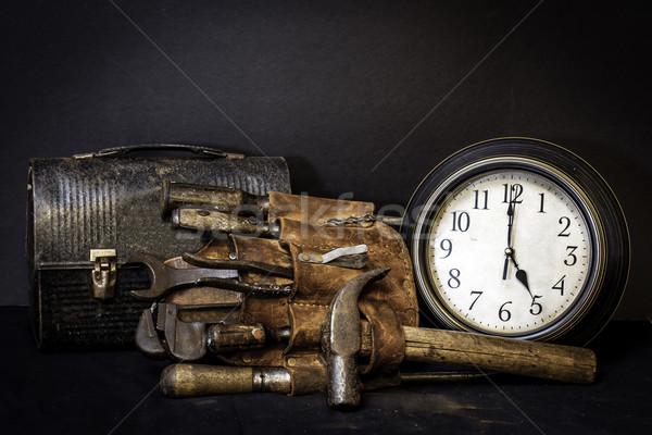 время Vintage инструментом пояса обед окна Сток-фото © dehooks