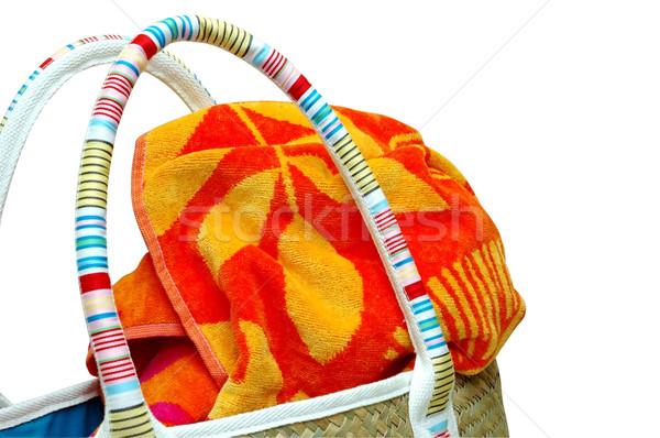 Toalla de playa dentro playa verano bolsa Foto stock © dehooks
