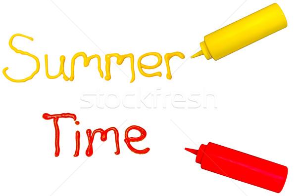 Nyár idő szavak írott mustár ketchup Stock fotó © dehooks