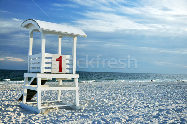 Ratownik chata plaży biały piasek niebo charakter Zdjęcia stock © dehooks