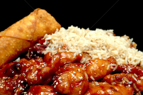 Chinees eten sesam kip ei rollen zwarte Stockfoto © dehooks
