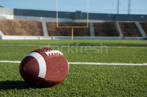 Amerikaanse voetbalveld doel post sport veld Stockfoto © dehooks