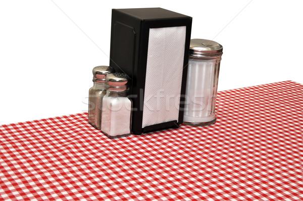 Lokanta tablo kırmızı masa örtüsü yalıtılmış beyaz Stok fotoğraf © dehooks