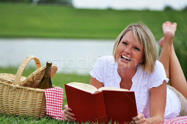 Woman on Picnic with Book and Wine Stock photo © dehooks