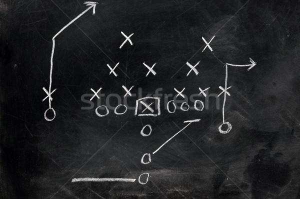 Voetbal diagram spelen zwarte schoolbord boord Stockfoto © dehooks