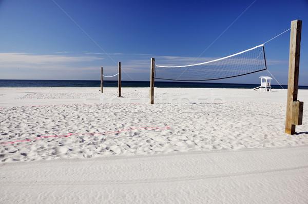 Tengerpart röplabda úszómester kunyhó égbolt természet Stock fotó © dehooks