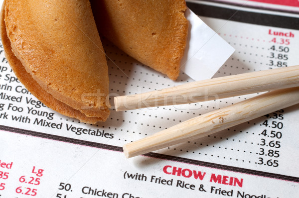 Chinese Restaurant Menu with Chopsticks and Fortune Cookie Stock photo © dehooks