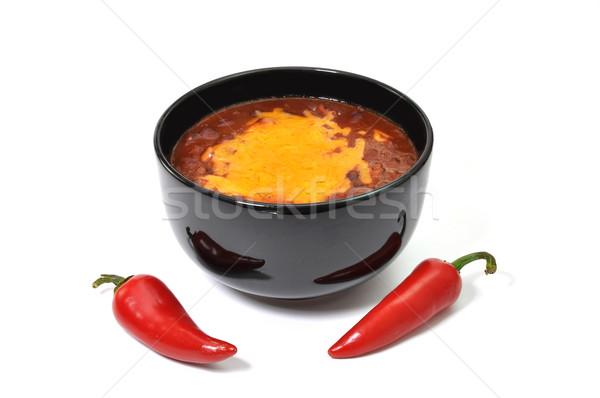 Chili tál olvadt sajt piros cayenne Stock fotó © dehooks