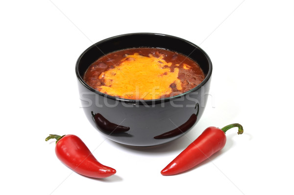 Pimenta tigela queijo vermelho pimenta de caiena Foto stock © dehooks